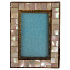 Antique Small Mother of Pearl Inlaid Bronze Photo Frame