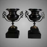 Set of Antique French Bronze and Marble Garnitures Urns Black Marble