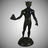 Grand Tour Bronze Sculpture Man  Set on Marble Base Holding a Bag