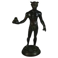 Grand Tour Bronze Sculpture Man  Set on Marble Base Holding a Bag