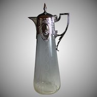 Elegant Antique WMF Silverplate and Etched Glass Decanter Early 20th Century