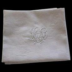 Set of 6 Antique French Linen Napkins Monogrammed L B