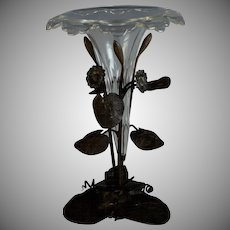 Vintage Cut Crystal Epergne Centerpiece with Bronze Base
