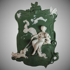 Vintage Volkstedt Bisque Porcelain Relief Plaque of a Woman and Putti