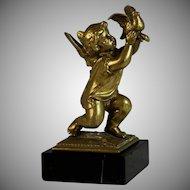 Vintage Bronze Kneeling Cupid with Dove Paperweight Presse Papier