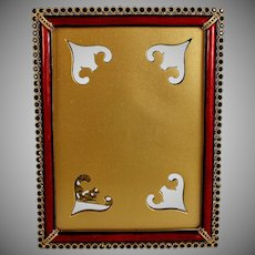 Vintage Jay Strongwater Lorraine Stone Edge Picture Photo Frame with Ruby Red Enamel