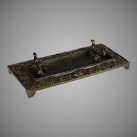 Antique French Bronze Desk Set Pen Tray Grotesques