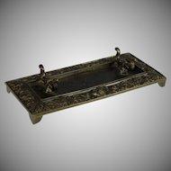 Antique French Bronze Desk Set Pen Tray Grotesques