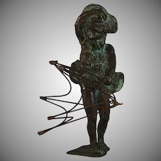 Bronze Sculpture of Girl with Umbrella in the Wind