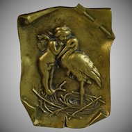 Antique Bronze Coin Dish Vide Poche with Cupid and Stork