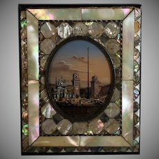 Grand Tour Miniature Painting of a Harbor with a Column