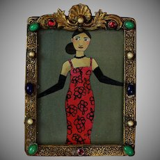 Vintage Czechoslovakia Gilded Metal Picture Photo Frame with Jewels