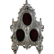 Sterling Silver 925 and Fine Pewter Triple Photo Picture Frame