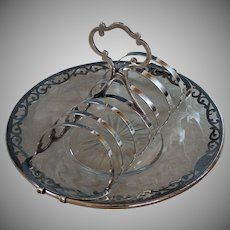 Antique Silver plate Toast Rack with Sterling Overlay Under plate Silverplate