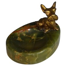 Vintage Onyx and Gilded Metal Scottie Vide Poche, Coin Tray