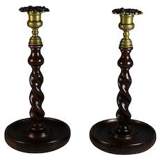 "Antique Pair 11"" Solid Oak Barley Twist Candlesticks - Brass Tops"