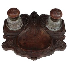 Unusual Art Nouveau Double Inkwell  Bakelite Base and Caps