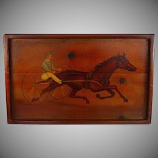 "Primitive Folk Art Painting on Wood ""Sulky"" Signed ca 1965"
