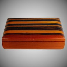 Unusual Vintage Multi Wood Box with Red Velvet Lining