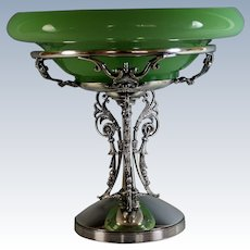 Elegant Large Simpson Hall Miller & Co Silver Plate Center Piece with Green Glass