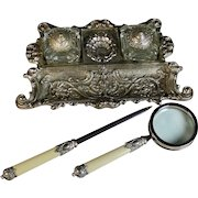 Vintage Silverplate Pen & Ink Stand, Inkwell w Letter Opener Magnifying Glass