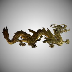 Pair Vintage Decorative Gilded Brass Dragons Architectural Element For Carl Johan