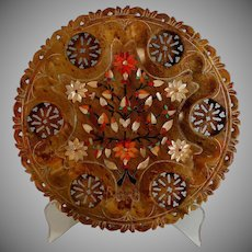 Antique Pietra Dura Plaque Dish with Reticulated Edge and Cut-outs