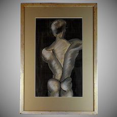Ink and Charcoal Drawing of a Dancer Signed and Dated.