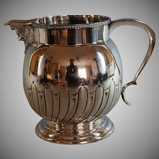 Repousse English Silver Plate  Pitcher with Grotesque