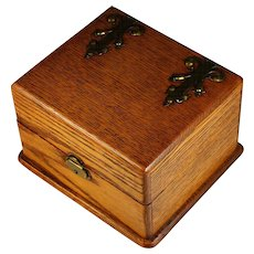 Antique Oak Dresser Box with Brass Appliques and Tray