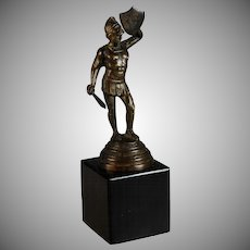 Grand Tour Bronze Sculpture of a Gladiator Set on a Black Marble Base