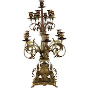 Large Louis XV Style Gilt Metal Thirteen Light Candelabra w Gilded Bronze Base