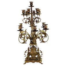 Large Louis XV Style Gilt Metal Thirteen Light Candelabra w Gilded Bronze Base