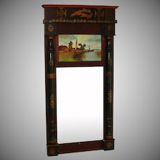 Vintage Federal Style Trumeau Mirror with Hand painted Dutch Scene