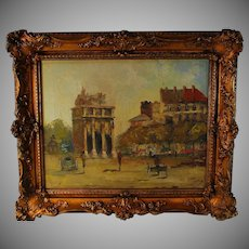 Oil on canvas painting of Arc De Triomphe Du Carousel in Paris