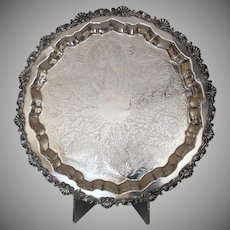 Vintage Sheffield Silverplate Footed Tray Silver Plate 19 1/4""