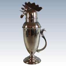 Vintage Silver Plate Rooster Cocktail Shaker Silverplate