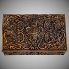 Antique Bronze Dresser Reliquary Box, Casket with Coat of Arms