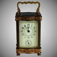 Antique French Carriage Alarm Clock Comptoir General, H. Riondet