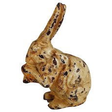 Vintage Cast Iron Still Bank Seated Bunny Rabbit