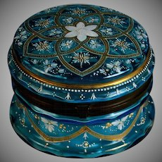 Antique Blue French Enameled Glass Box with Bronze Mounts