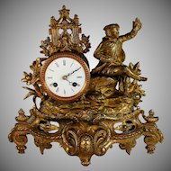 Antique French Gilt Metal Eight Day Mantle Clock just Serviced Hunt Theme