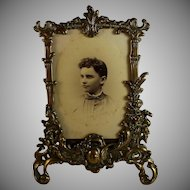 Antique French Gilded Bronze Photo Frame with Photo of a Young Girl