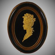 Victorian Celluloid Profile Relief Miniature in Frame
