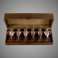 Antique Monogrammed Sterling Silver 6 Piece Salt Set with Box