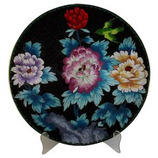 "Antique Chinese Cloisonne 12"" Blue Charger with Bird Flower Motif"