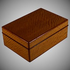 Stunning Antique Wood Dresser Box with Contrasting Wood Accents and Velvet Lining