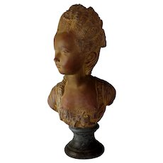 French School Terracotta Bust Sculpture of a Young Girl, Early 19th C