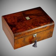 Antique Burl Wood Sewing Box with Contents and Key