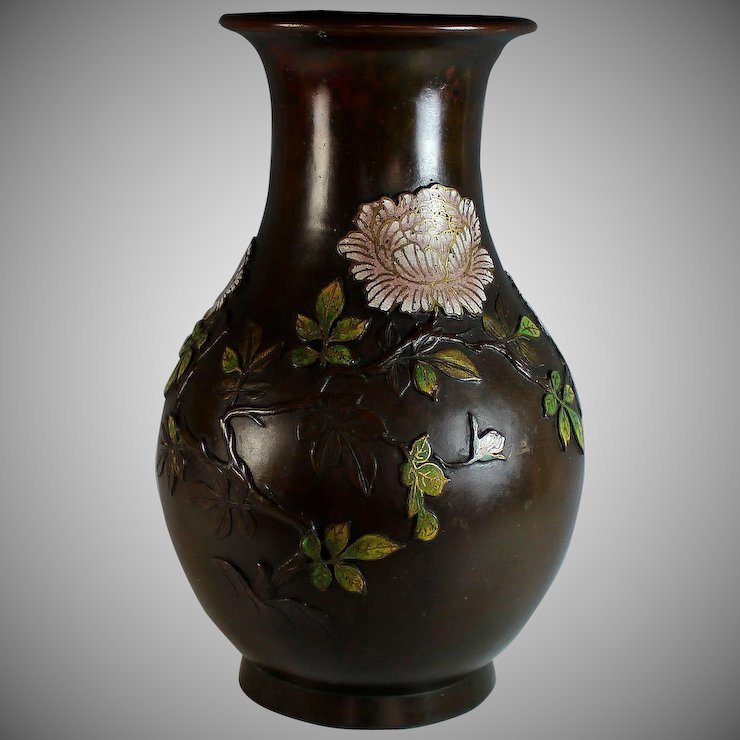 Large Antique Chinese Champleve Bronze Vase Peonies Signed Juliet